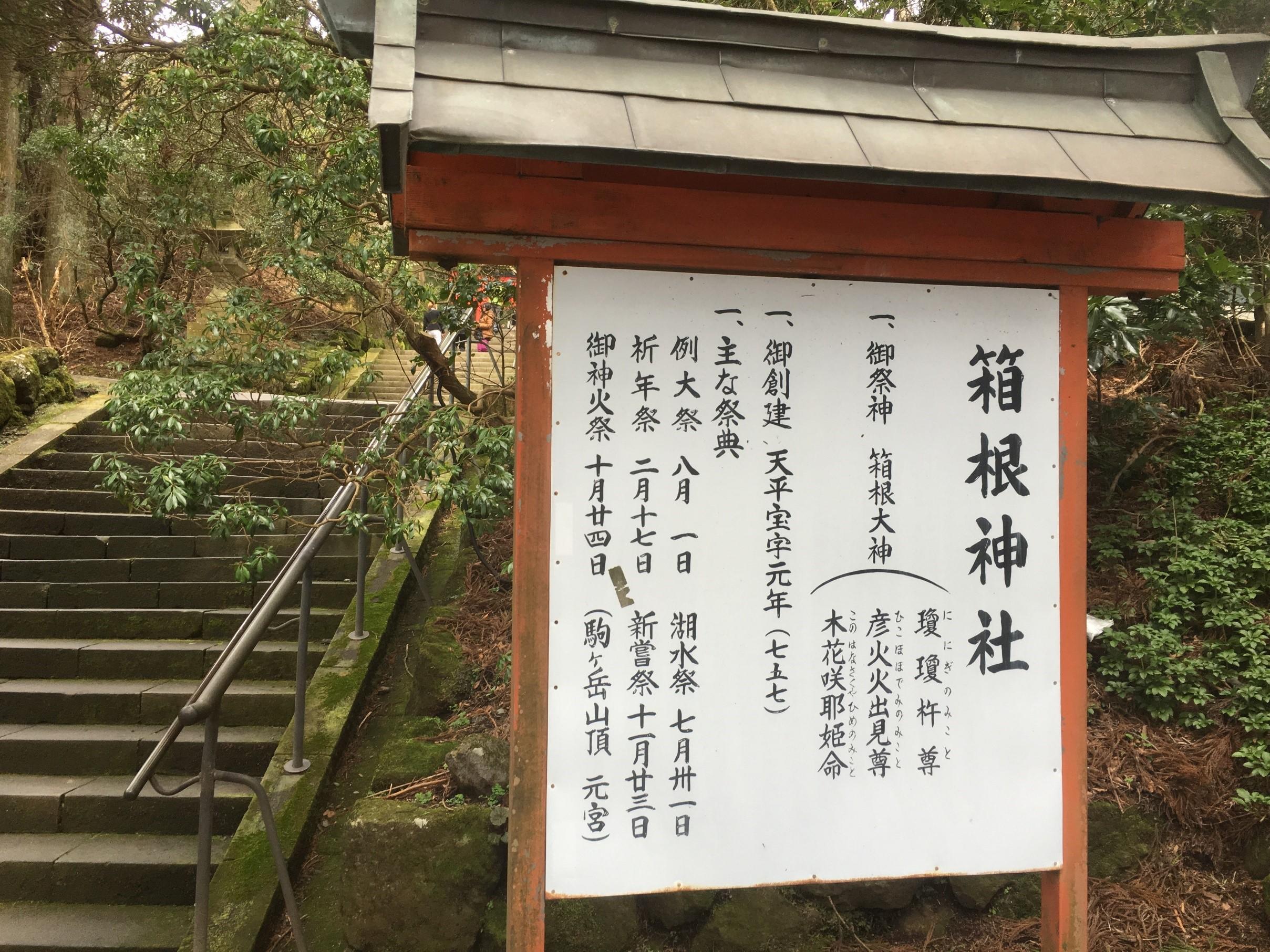 箱根神社 看板 写真