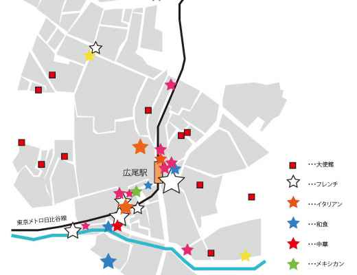 広尾人気飲食店舗マップ