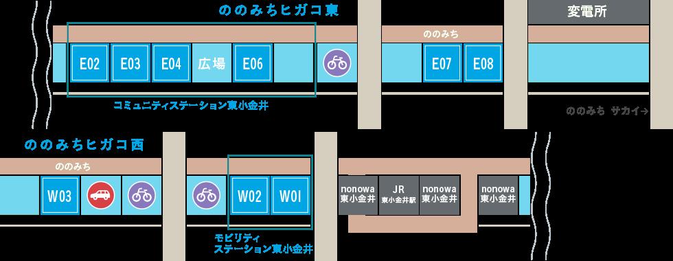 ののみち東小金井マップ